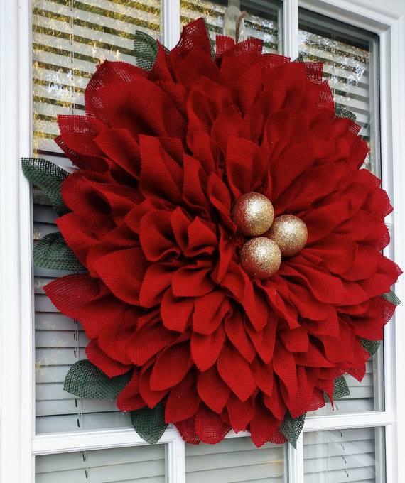 Chic Red DIY Poinsettia Wreath