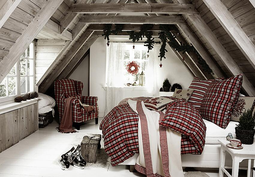 Chic Rustic Christmas Bedroom Decor