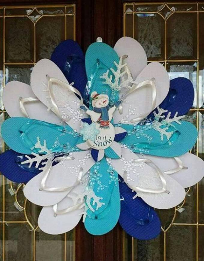 Creative Flip Flop Snowman Wreath