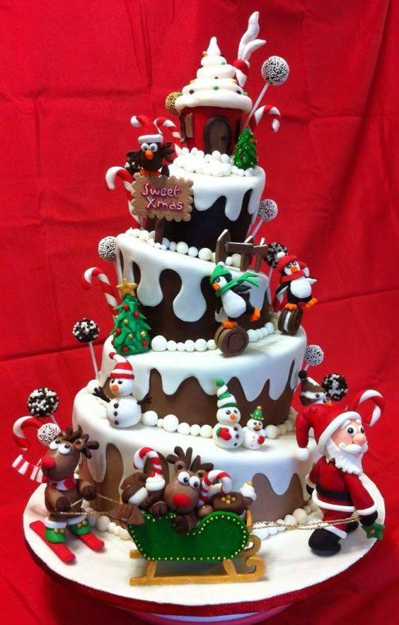 Creative Santa And Snowman Christmas Cake