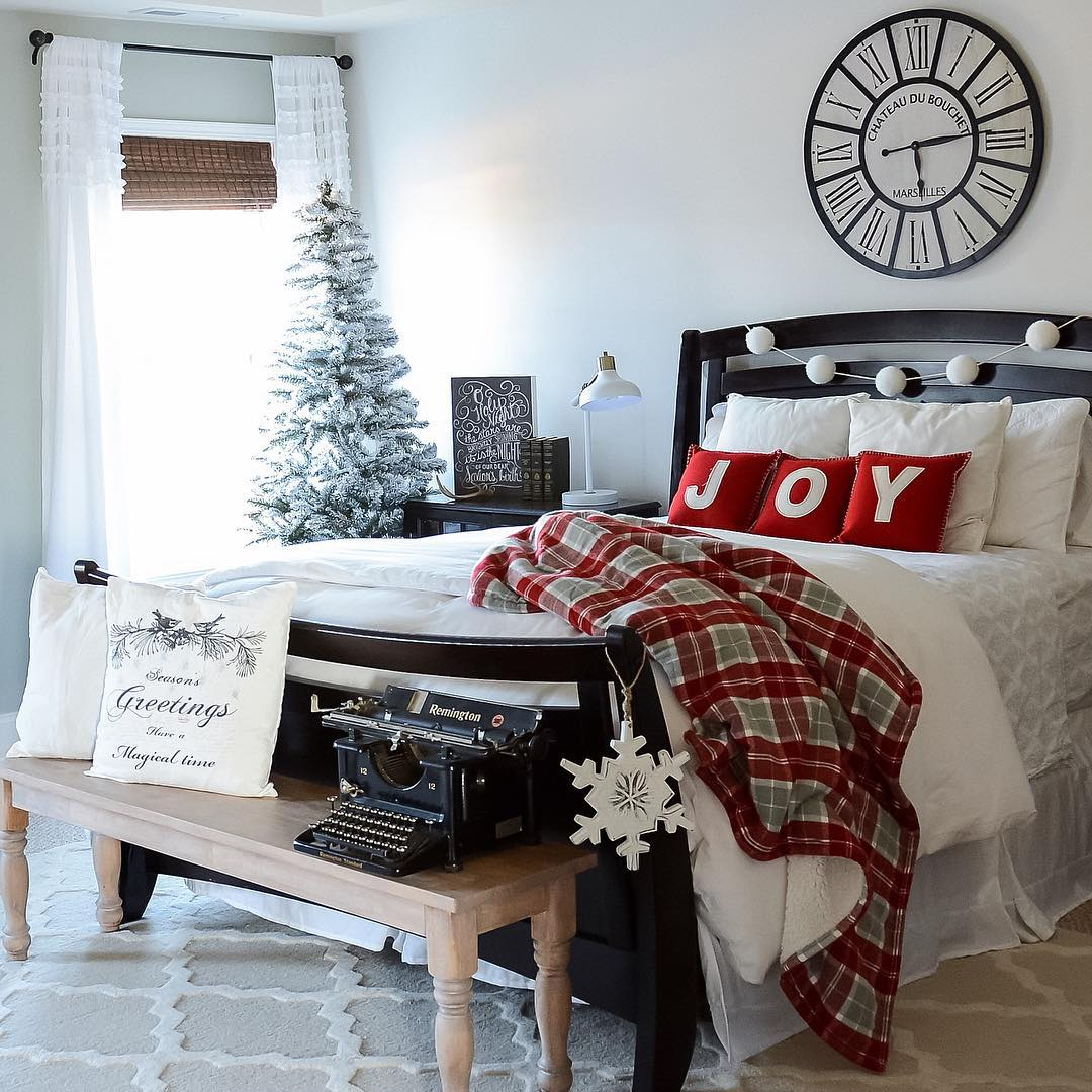 Dreamy Bedroom Decor With Tree, Ornaments, And Snowflakes