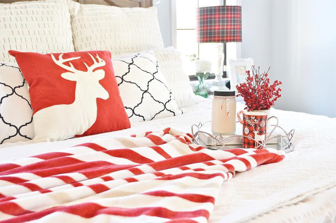Exclusive Christmas Decor With Reindeer Cushion Cover And Flowers