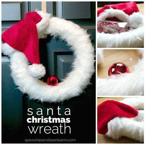 Fancy Feather Santa Christmas Wreath Design