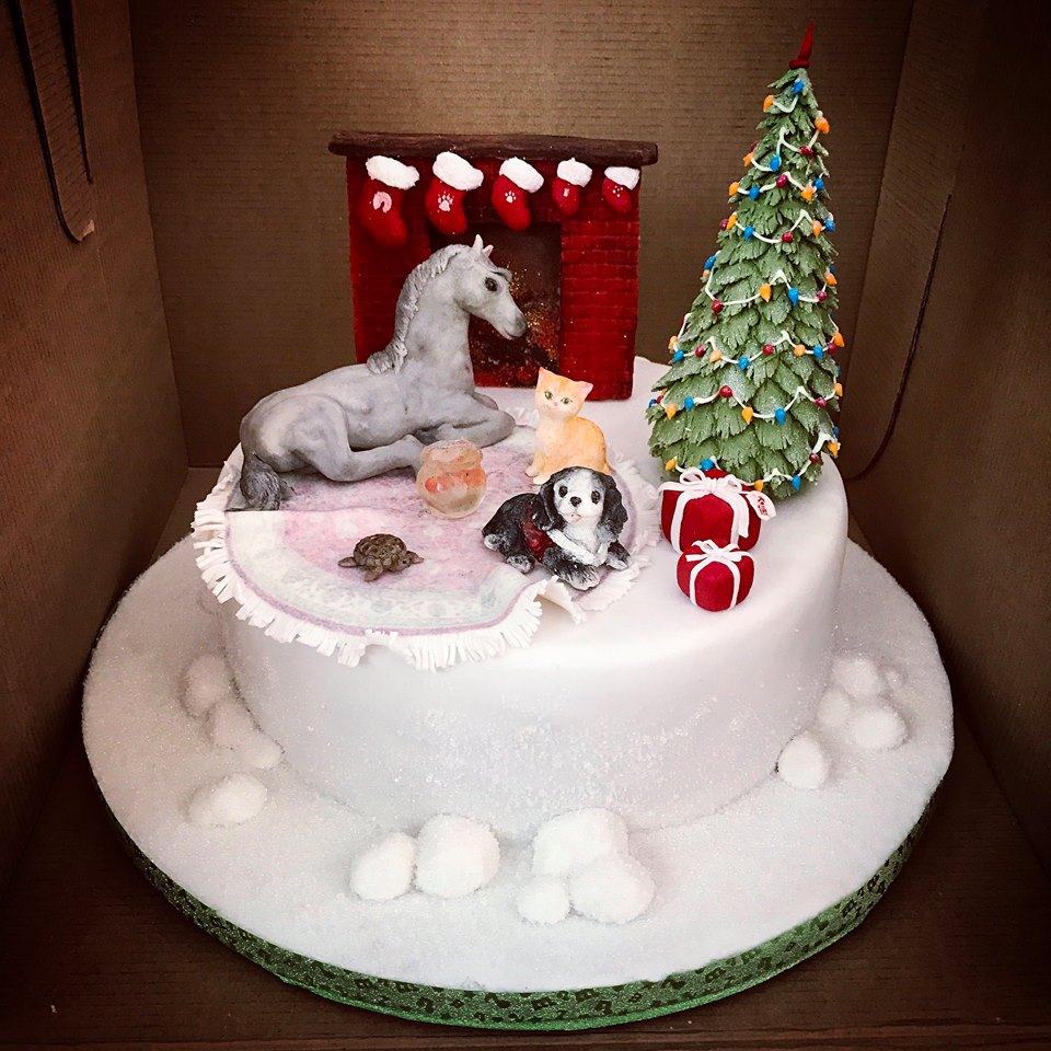 Fantastic Hand Crafted Animal Theme Christmas Cake