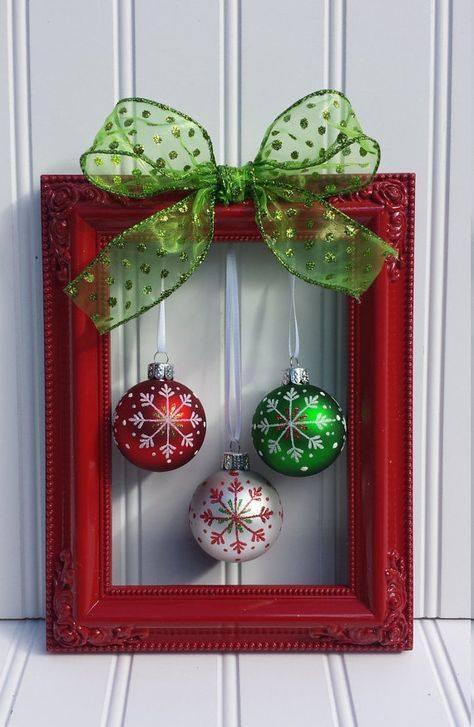 Glamorous DIY Frame Christmas Wreath