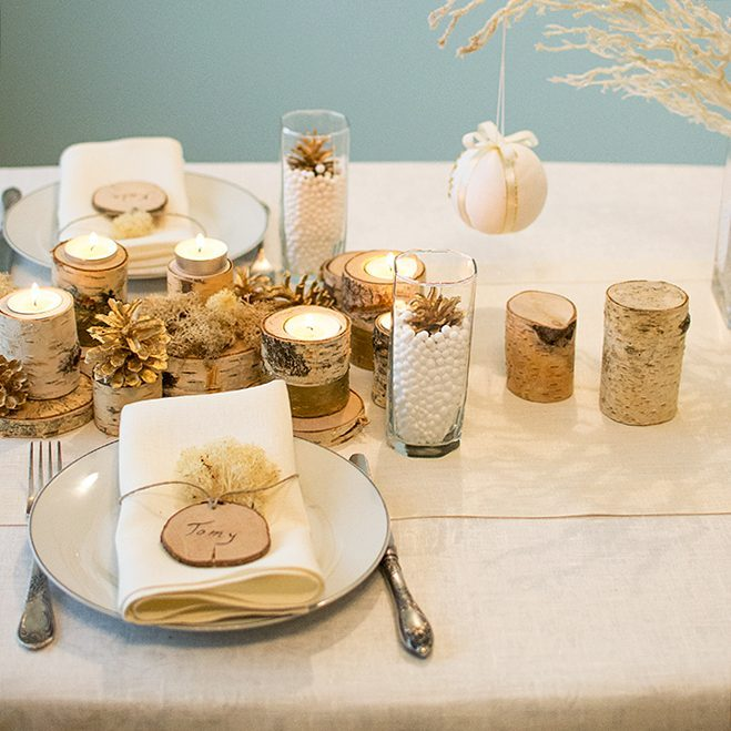 Graceful Rustic Table Decor With Shiny Table Runner With Gold Shade, Wooden  Name Cards And Candle Holder