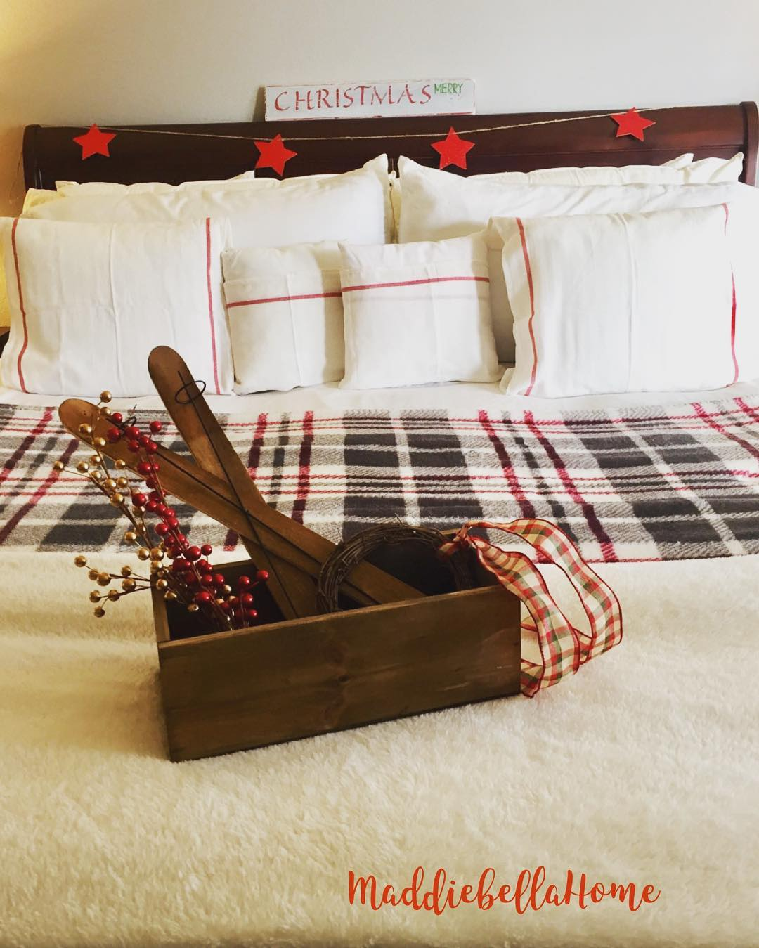 Grainsack Pillow Covers And Little Rustic Wooden Box With Stars Banner
