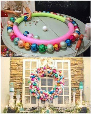 Impressive Idea to Use Pool Noodle To Create Giant Outdoor Wreath