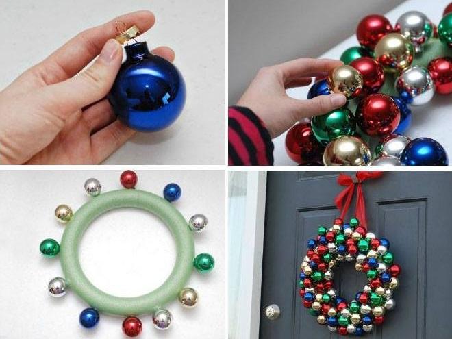 Pretty Colorful DIY Christmas Ornament Wreath