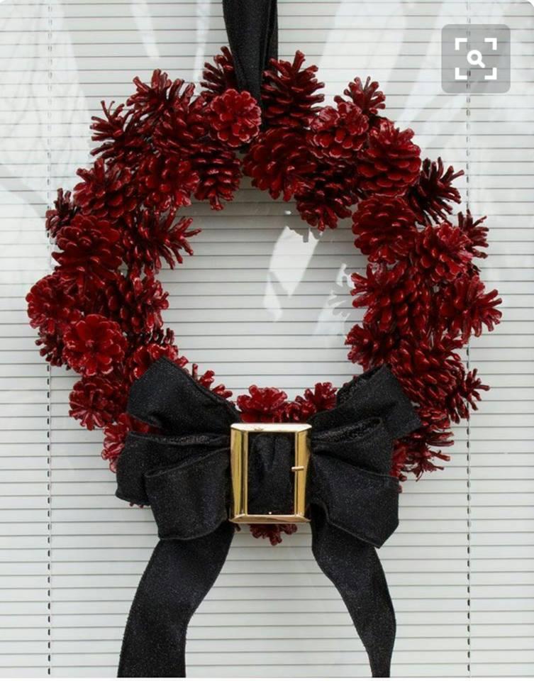 Ravishing Red Pinecone Santa Wreath