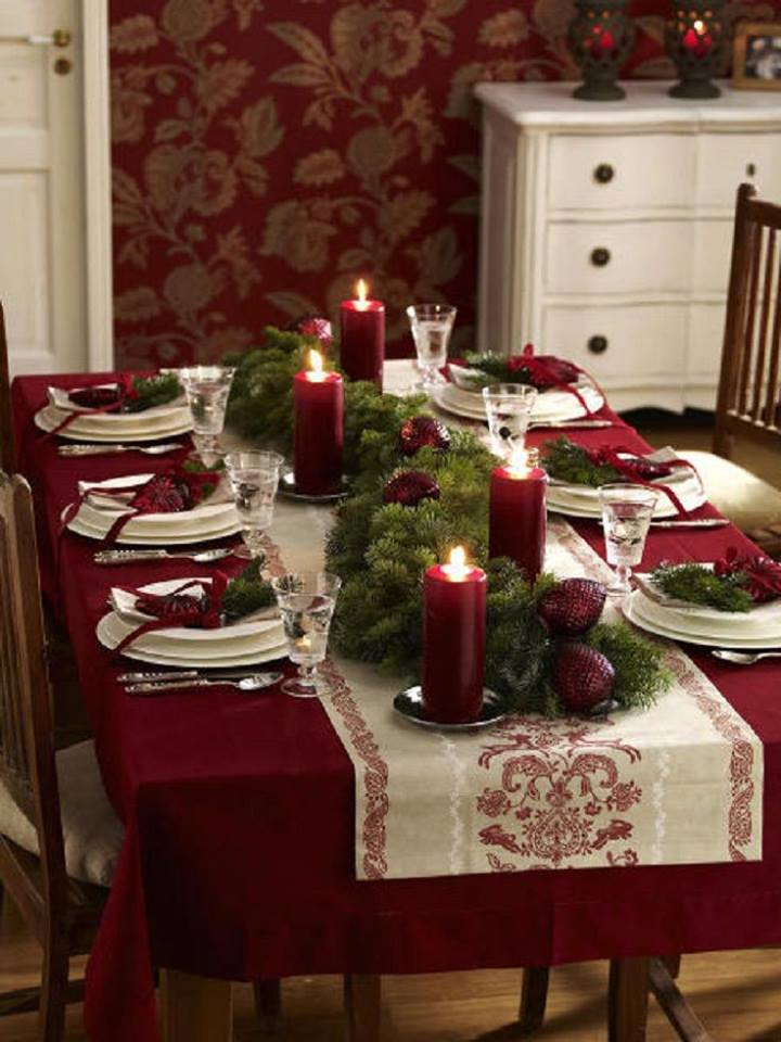 Red And White Christmas Table Decor With Beautiful Red Candles