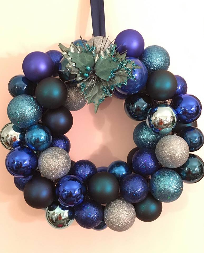 Rocking Blue With Silver Ornaments DIY Wreath