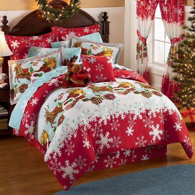 Santa And Snow Flakes Bedding Decoration For Christmas