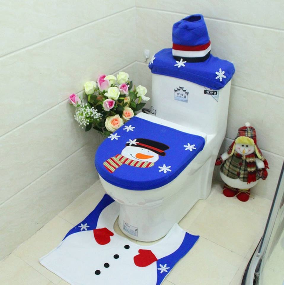 Santa Claus Snowman And Reindeer Toilet Seat Cover