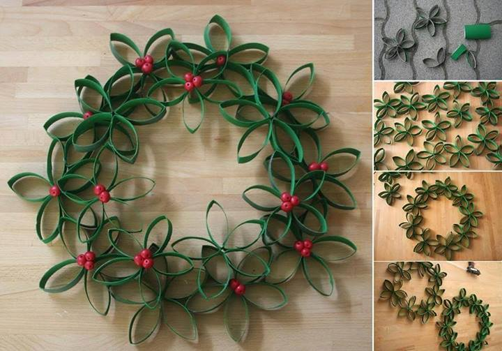 Stylish Paper Roll Christmas Wreath