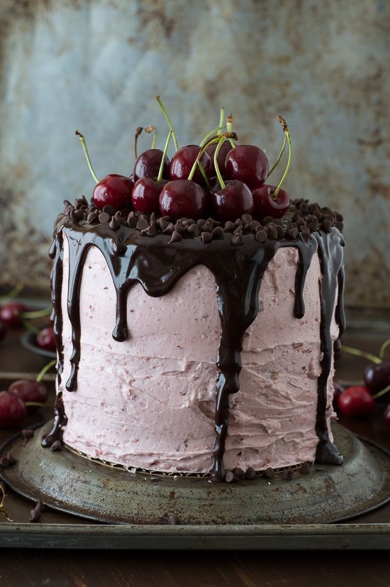 Adorable Chocolate Cake With Cherries