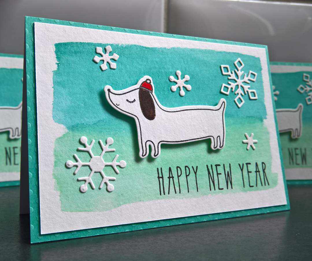 Adorable Handmade Dog Card With Snowflakes