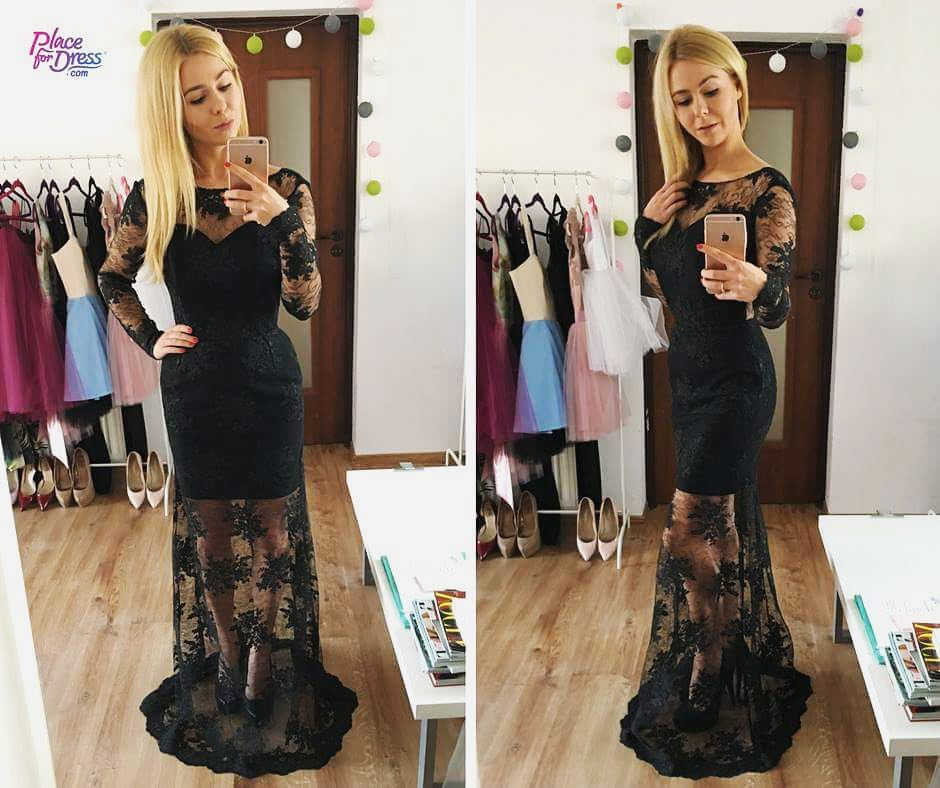 Alluring Black Net Fabric Party Gown