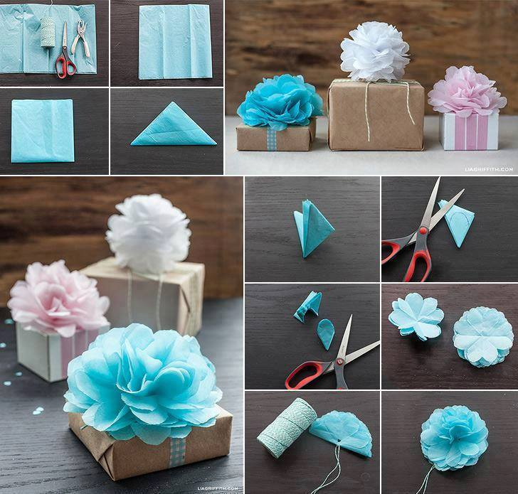 Alluring Paper Flower Used To Wrap Gift