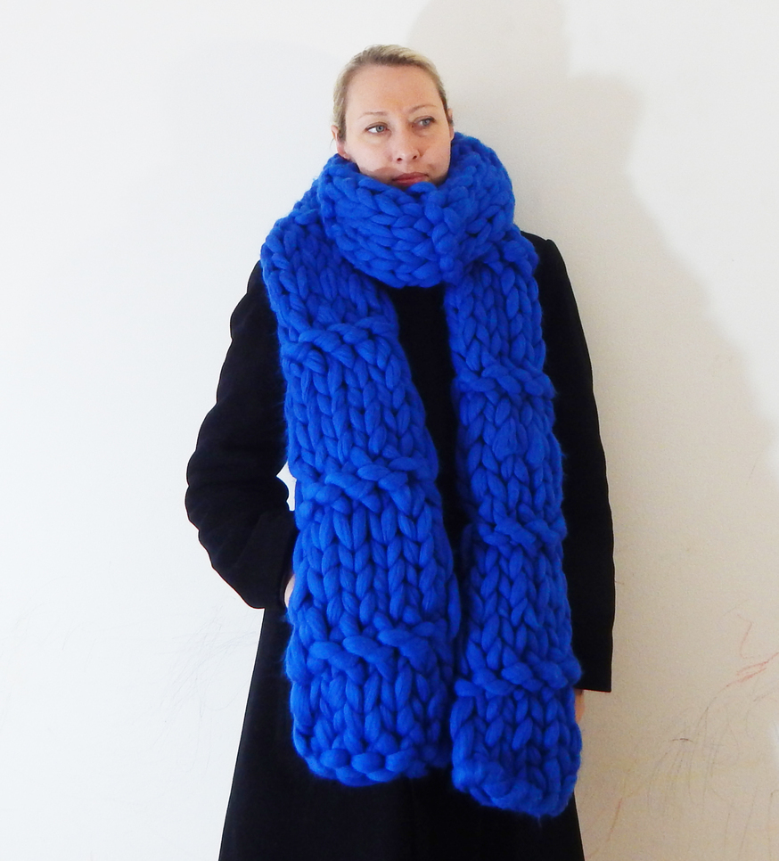Amazing Blue handmade Knit Scarf Perfect For Chilly Weather
