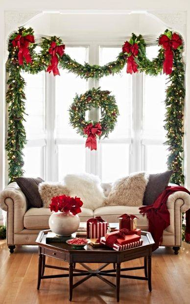 Amazing Window Decoration With Greenery & Ribbon Wreath At Christmas