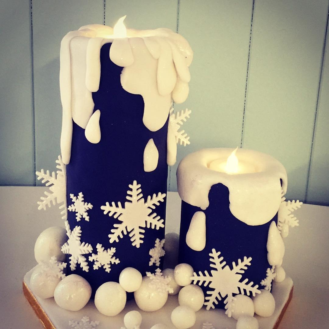 Appealing Choolate Candle Christmas Cake