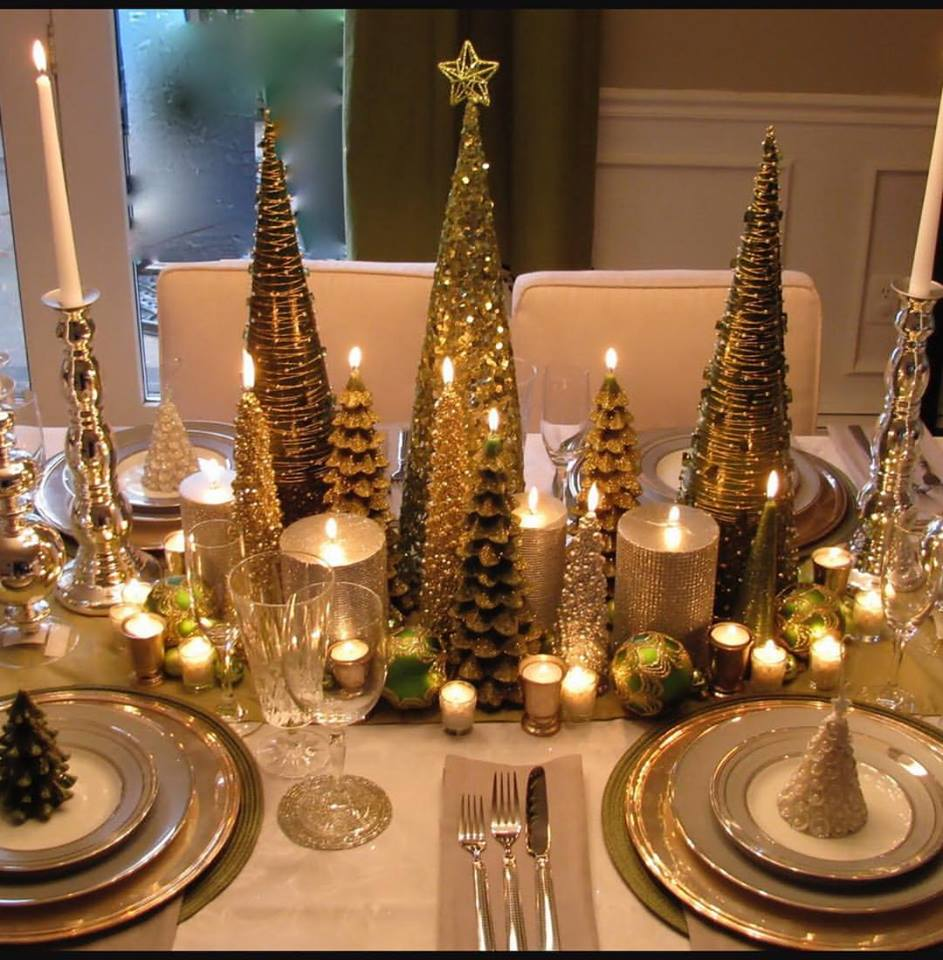 Attractive Christmas Table Decor With Tree Candles