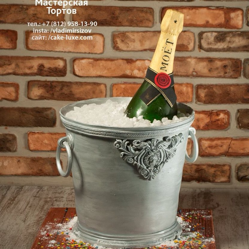 Awesome Champagne In Ice Bucket Cake Design