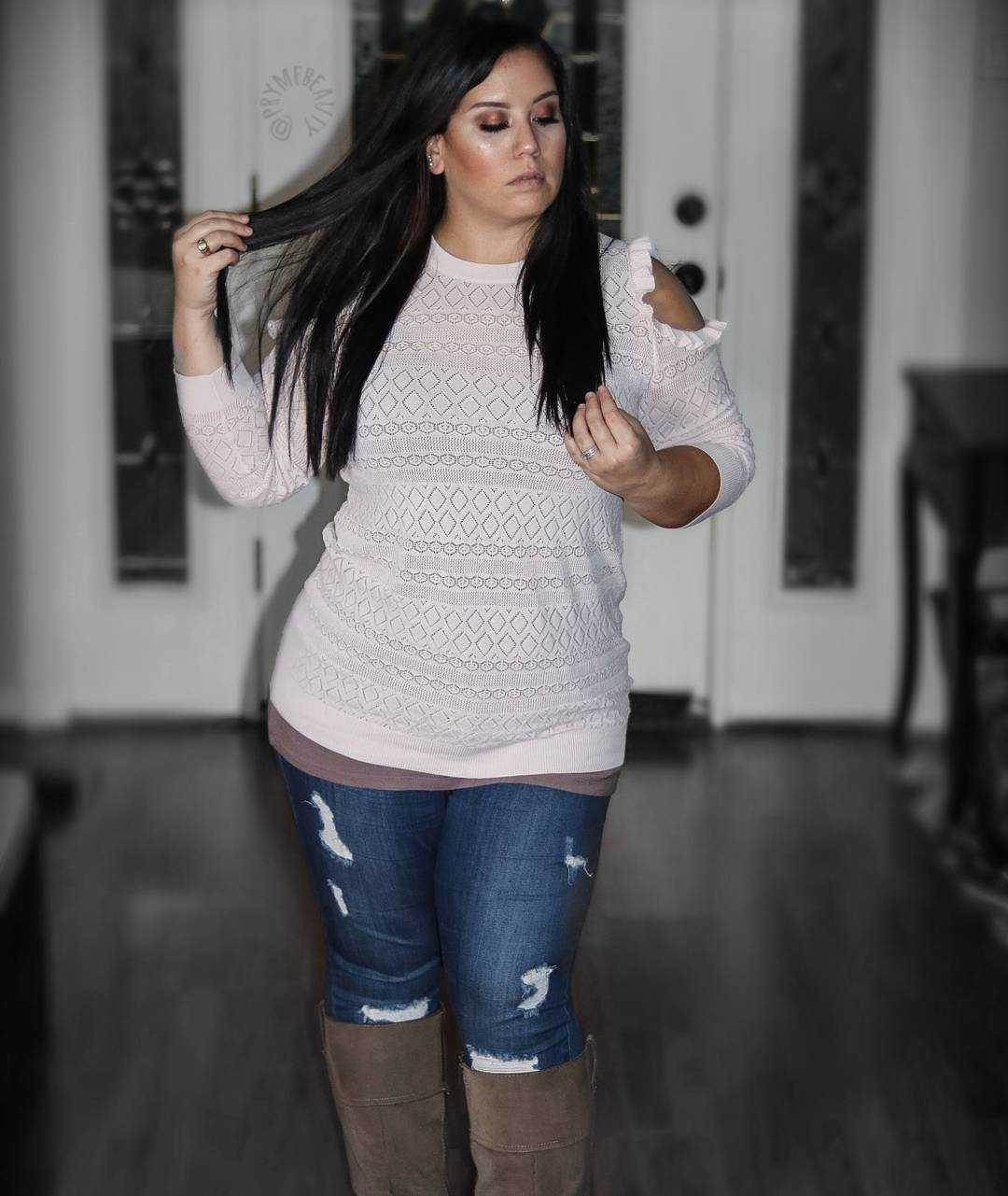 Awesome Cold Shoulder Sweater Paired With Ripped Jeans And Suede Knee Shoes
