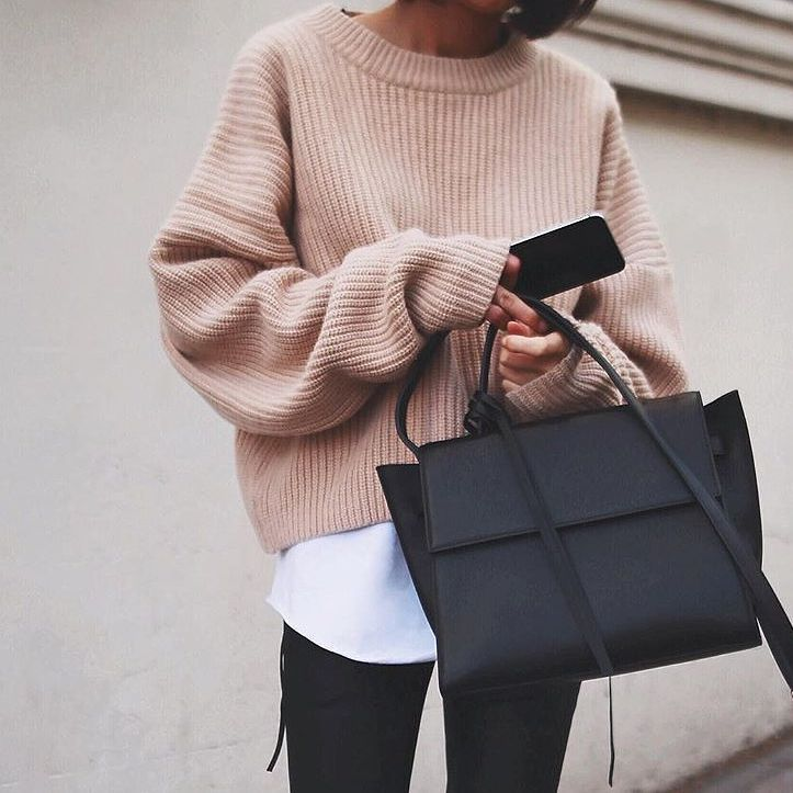 Awesome Street Style Short Sweater With White Shirt, Jeans And Formal Handbag