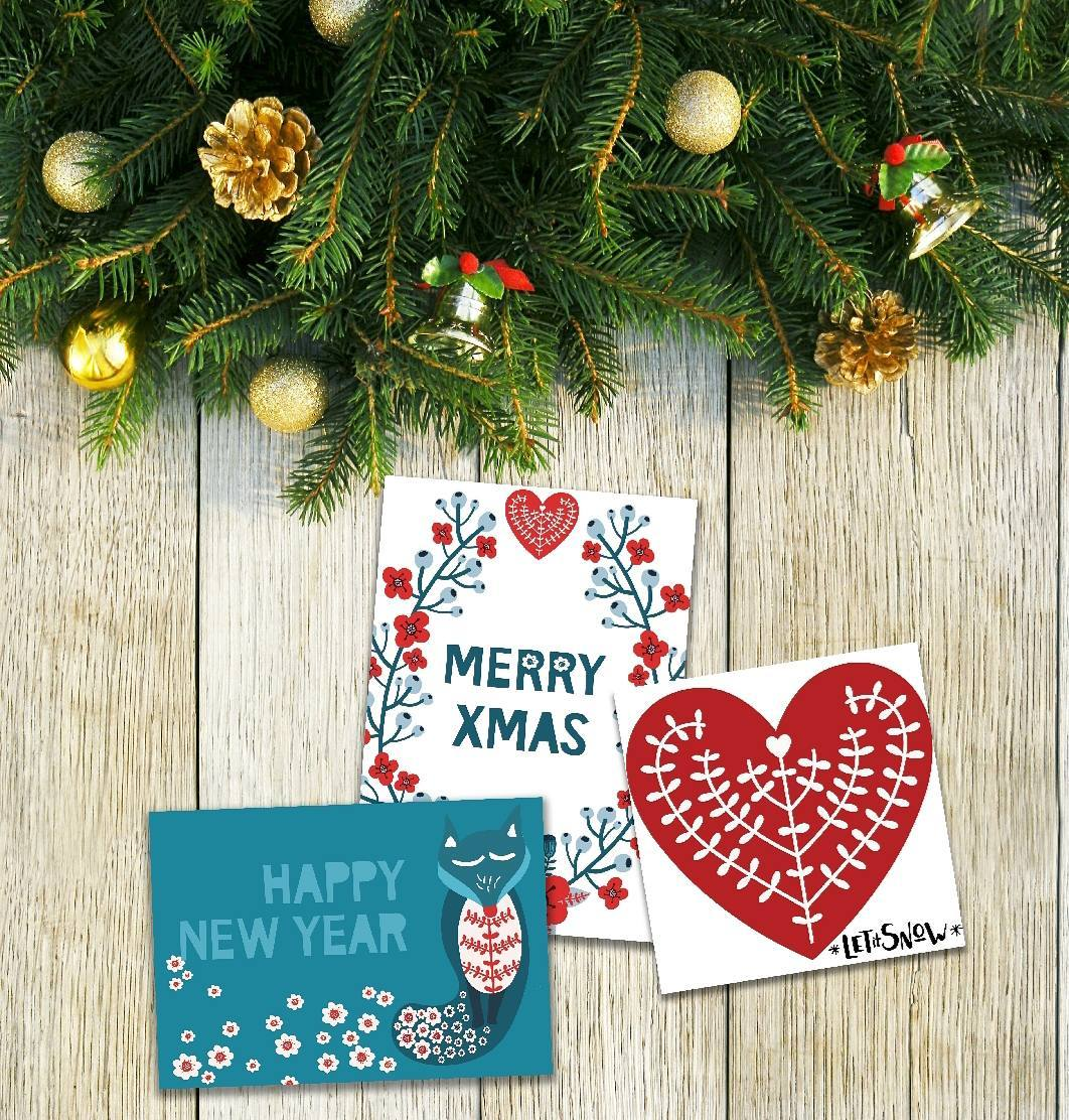 Beautiful Christmas And New Year Cards Design