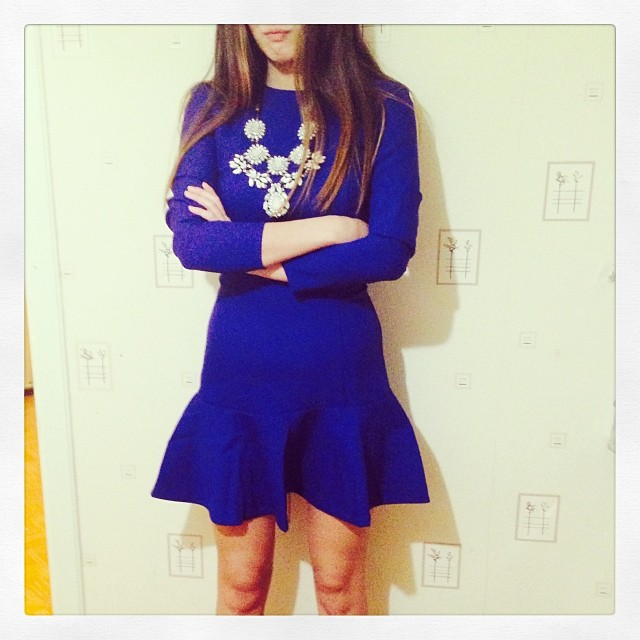 Beautiful Deep Blue Charming Dress With Awesome Necklace