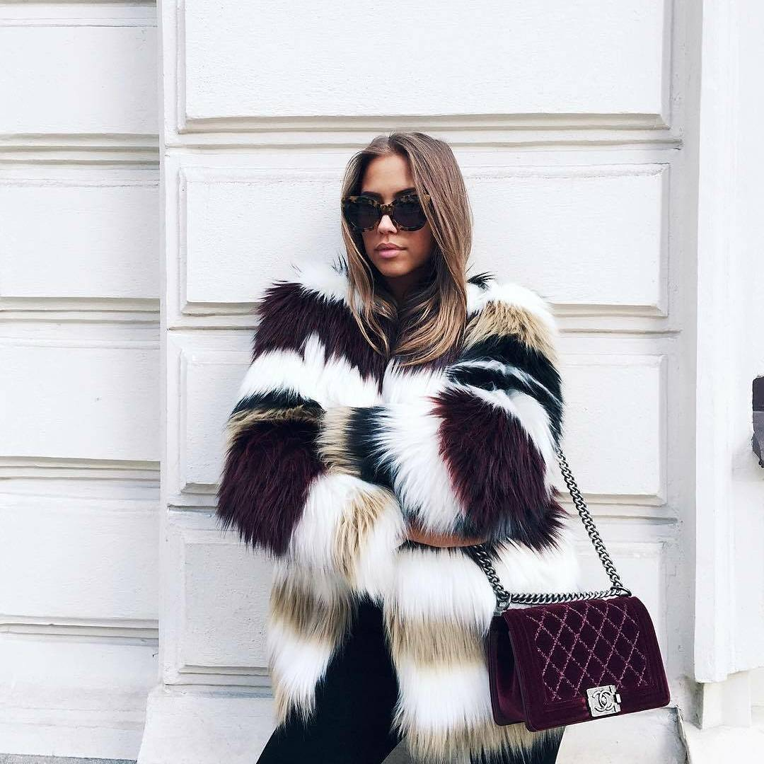 Beautiful Furry Jacket With Jeans And Crossbody Bag