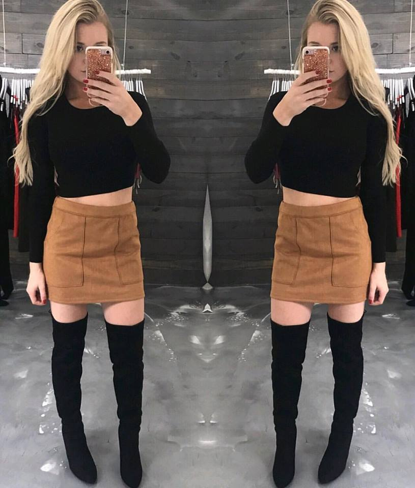 Beautiful Round Neck Cropped Sweater Paired With Suede Pocket Skirt And High Thigh Shoes