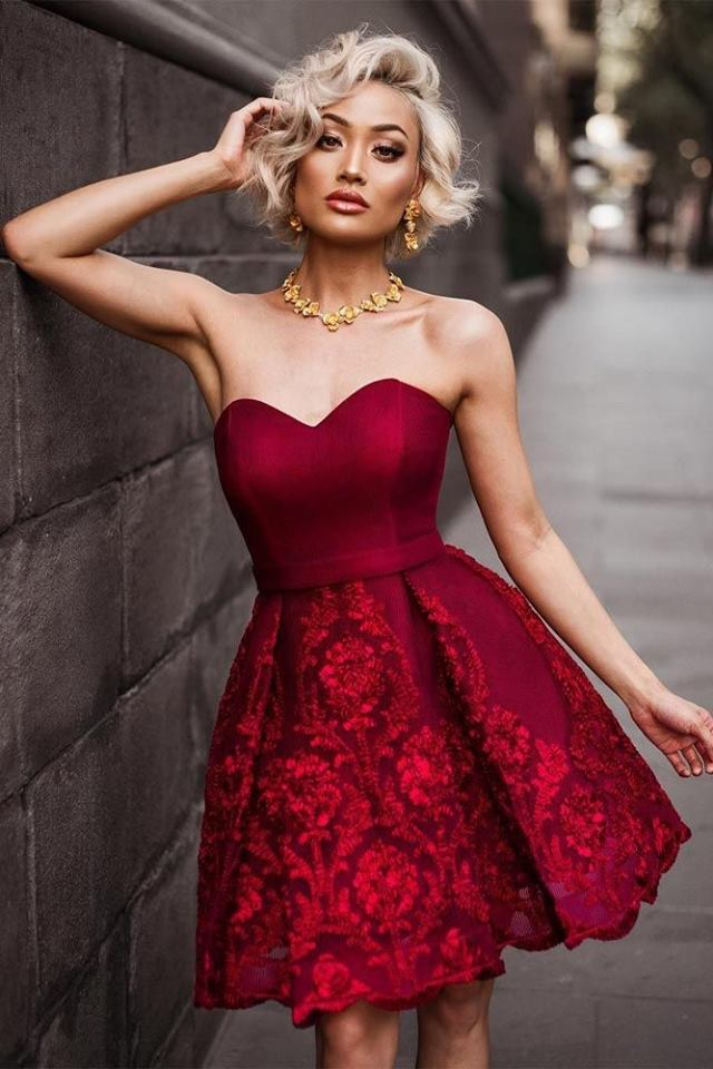 Best Red Off The Shoulder Party Dress With Golden Necklace And Earrings