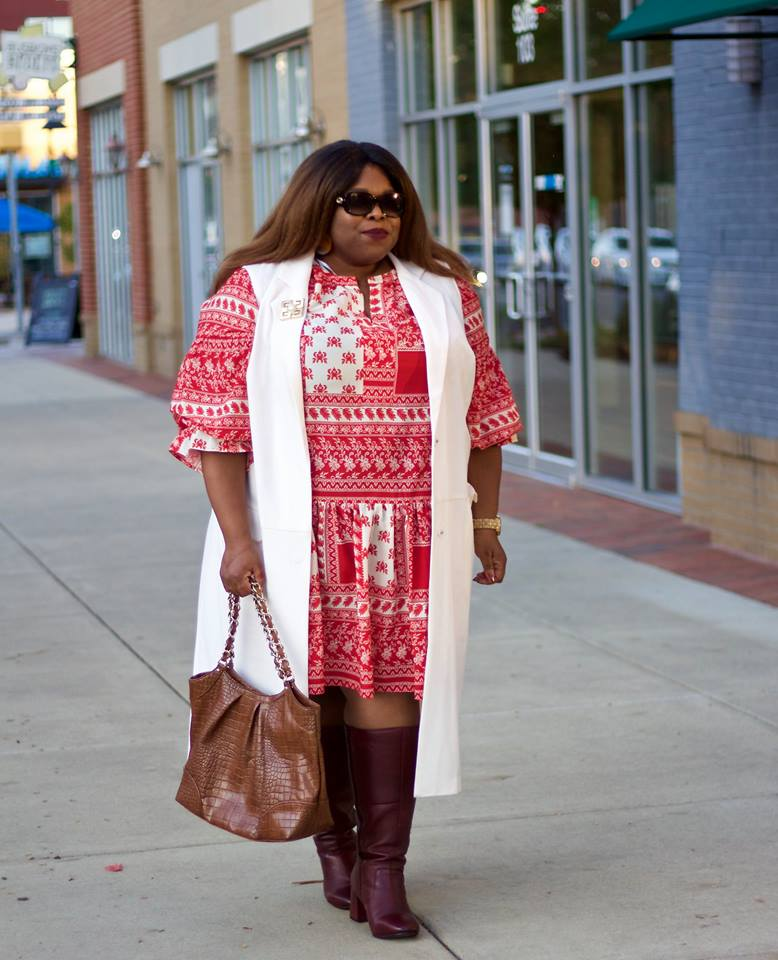 Boho Style Midi Paired Half Sleeves Long Cardigan, Burgundy Leather Knee Shoes And Handbag
