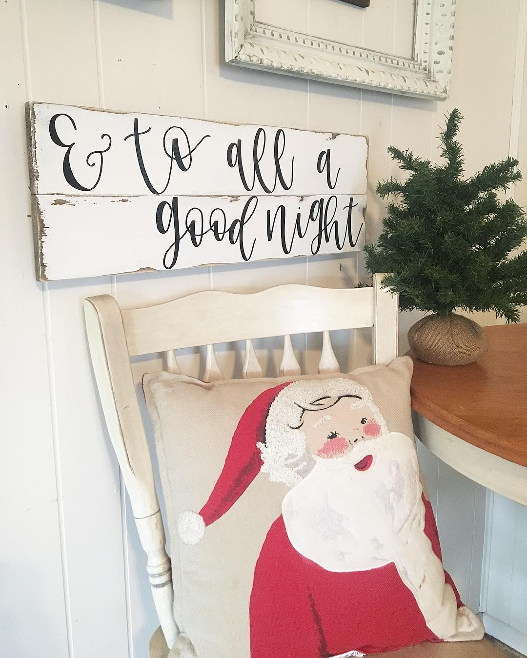 Budgetry Christmas Sign With Santa Claus Pillow Cover