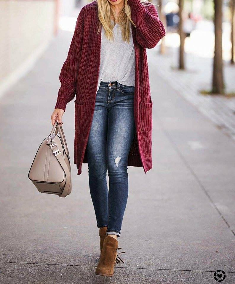 Burgundy Long Sweater With Grey Top, Ripped Jeans, Suede Akle Shoes And Handbag