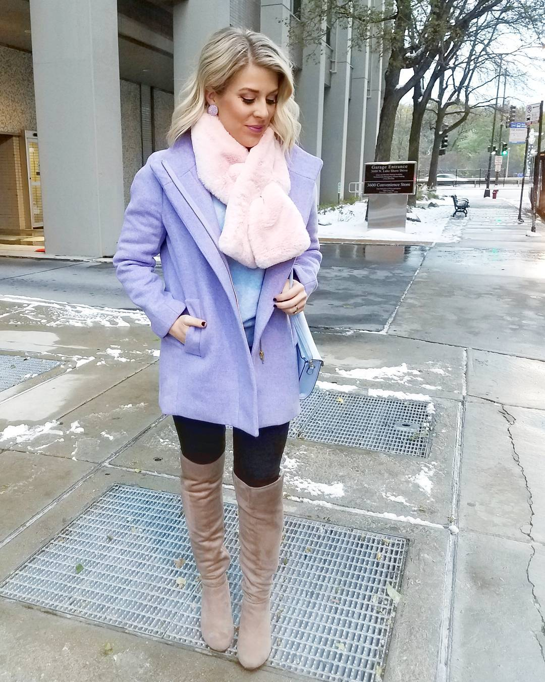 Casual Purple Coat Paired With Black jeans, Faux Feather Scarf And Knee Shoes
