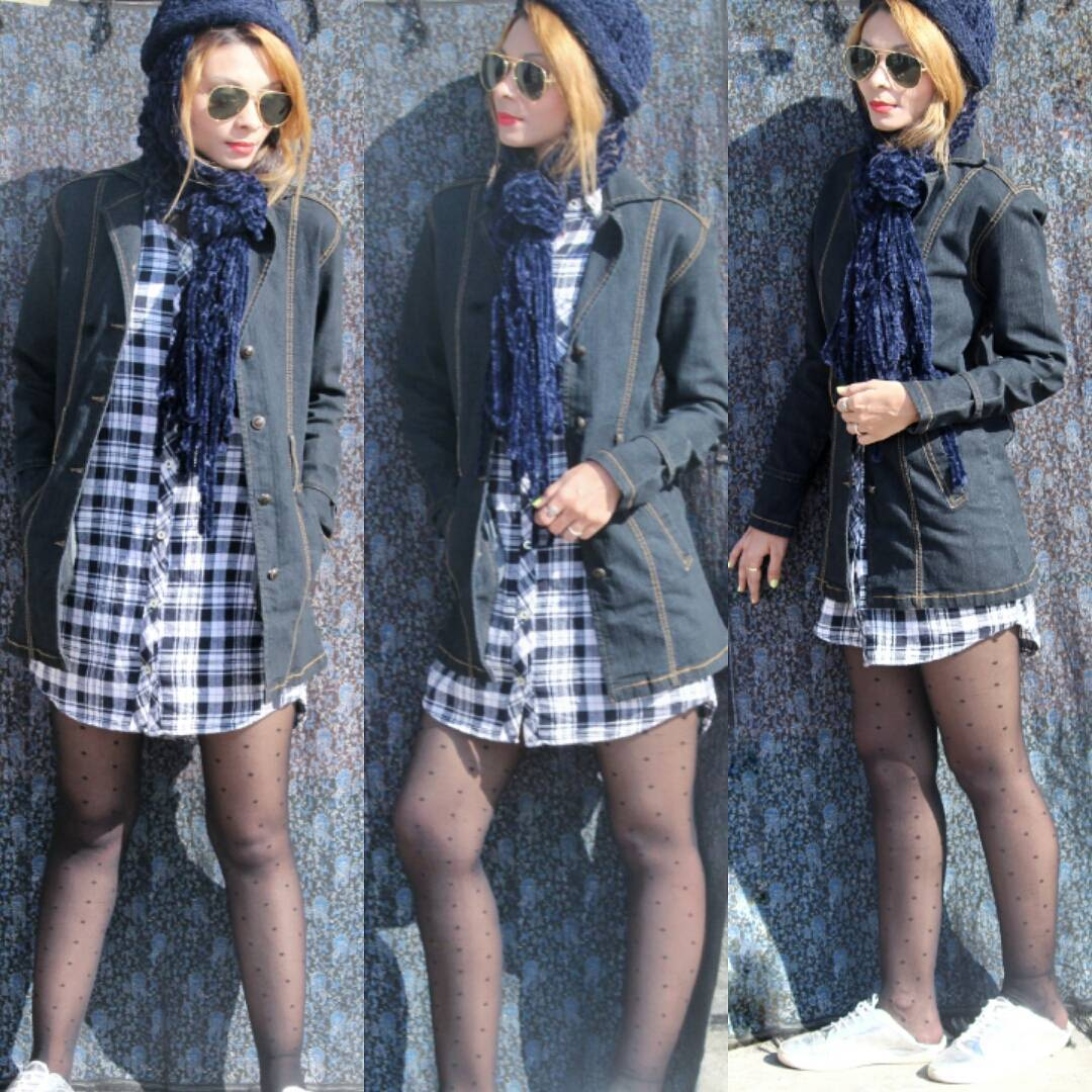 Chic Plaid Button Down Shirt, Denim Jacket, Stockings With Woolen Scarf And Cap