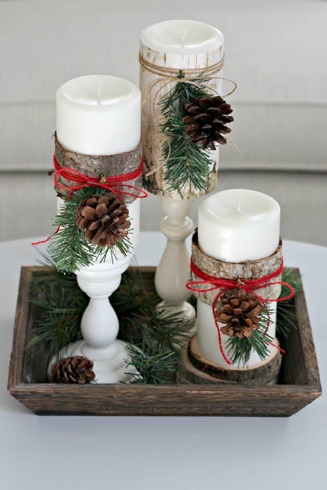 Chic Wood Wrapes Candles With Pine-Cones