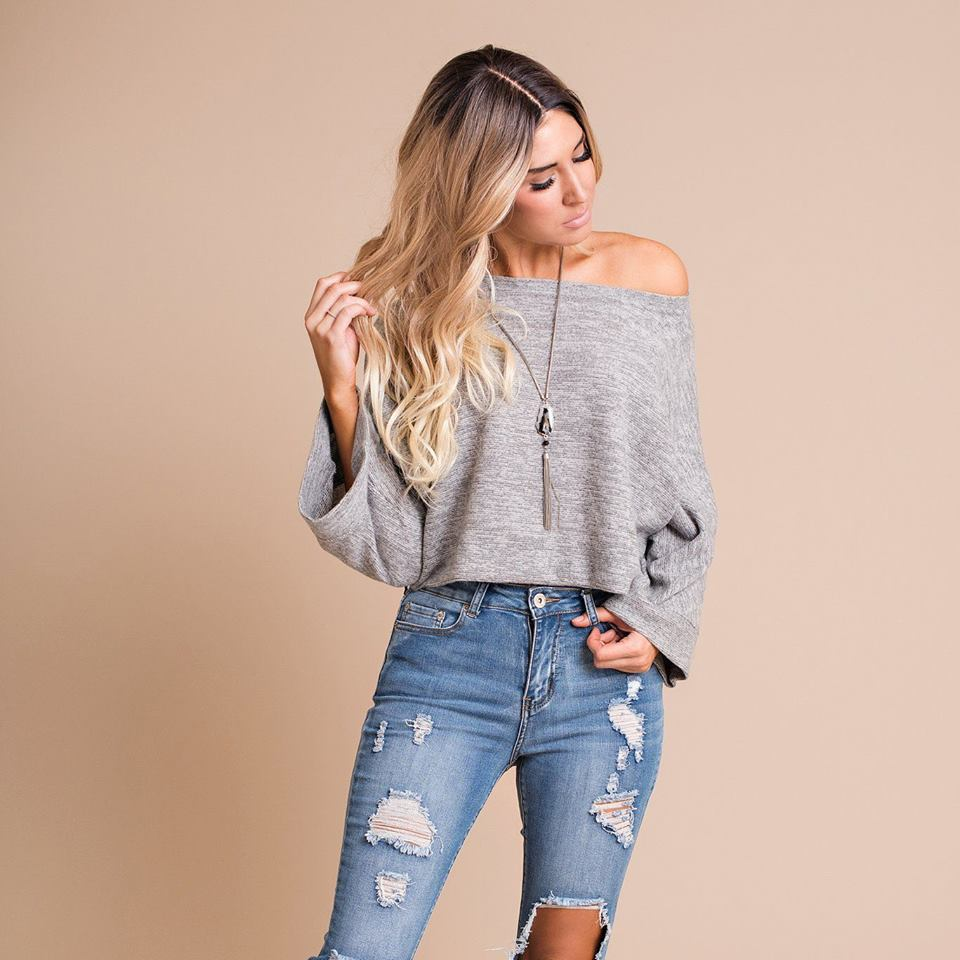 Classic Grey Woolen Top With Ripped Jeans