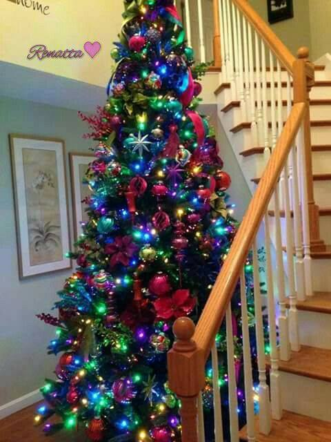 Colorful Christmas Tree With Beautiful Ornaments
