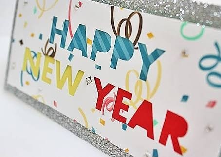 colorful handmade new year greeting