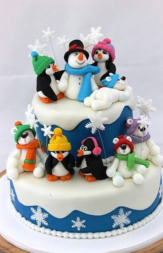 Cool Christmas Cake With Snowman And Penguin