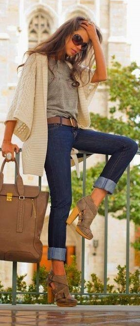 Cream Open Short Sleeves Sweater, Grey Top, Jeans And High Heels