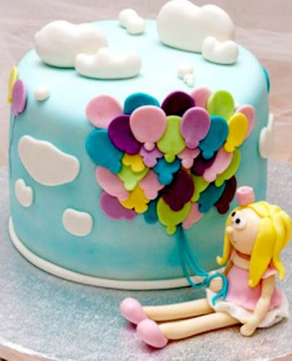 Cute Girl With Balloons On Cake