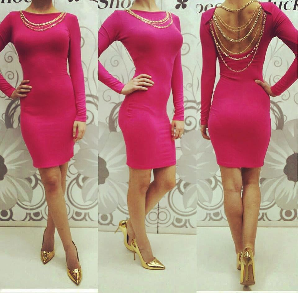 Dashing Dark Pink Full Sleeves Dress With Golden Pointed Toe Heels