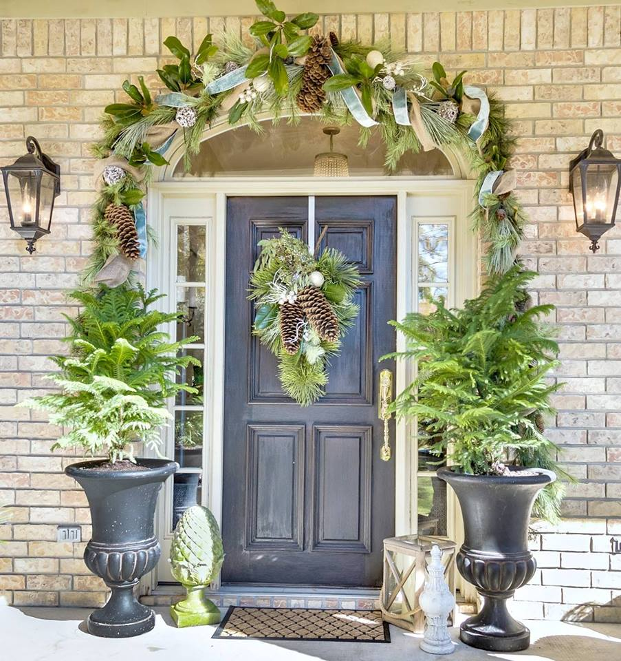 Dashing Greenery Decor At Front Door For Christmas
