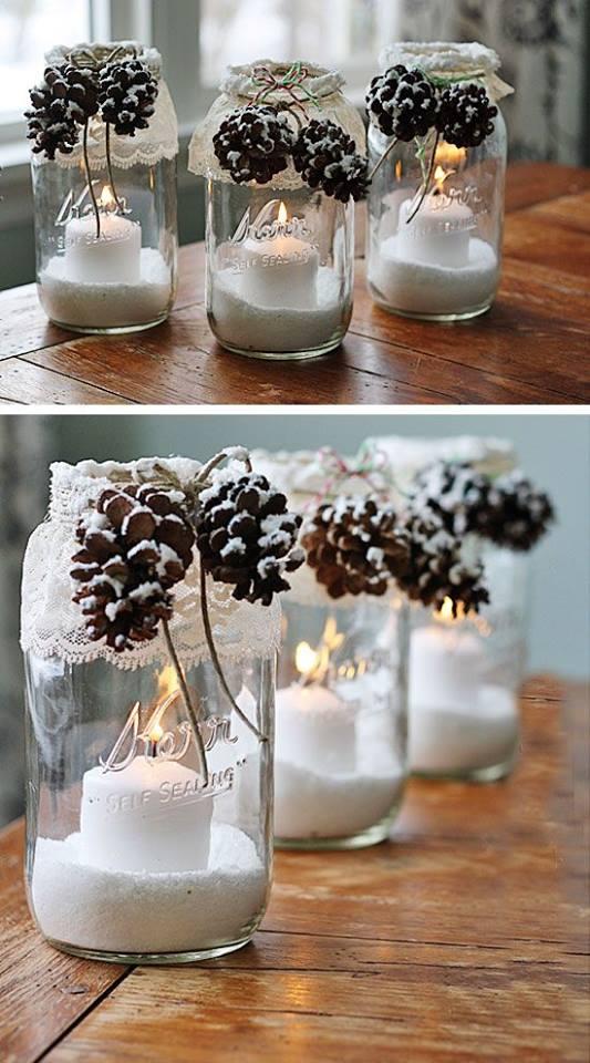 Dashing Snowy Pine-Cone Candle Jar